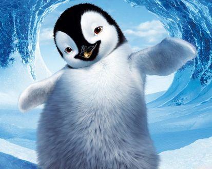 Обои Милый пингвин в ледяной пустыне из фильма Happy Feet / Делай ноги