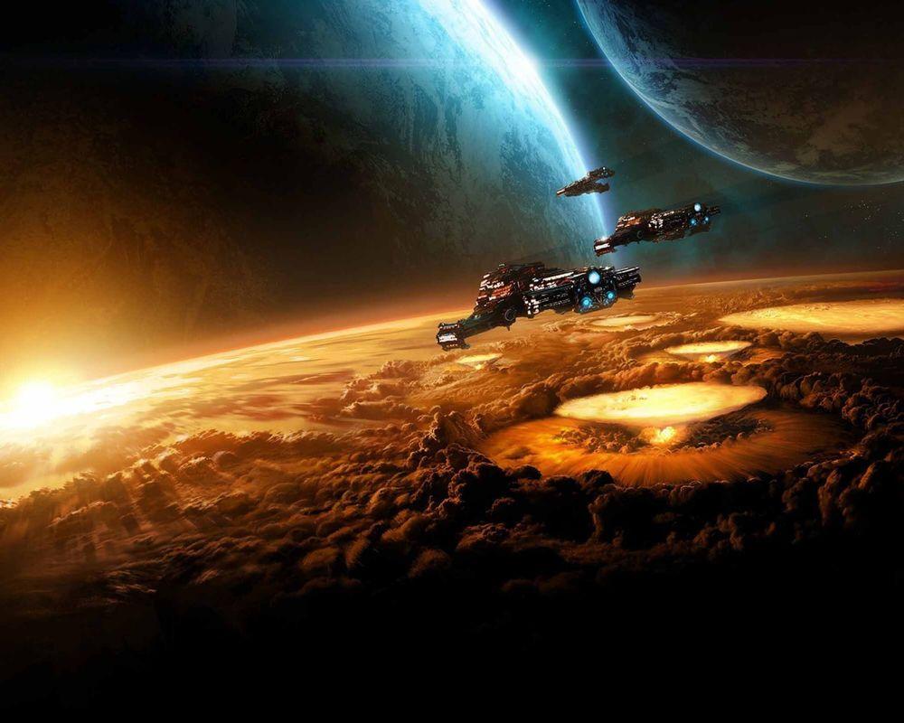 Oboi Kosmicheskie Korabli Napadayut Na Planetu Na Rabochij Stol