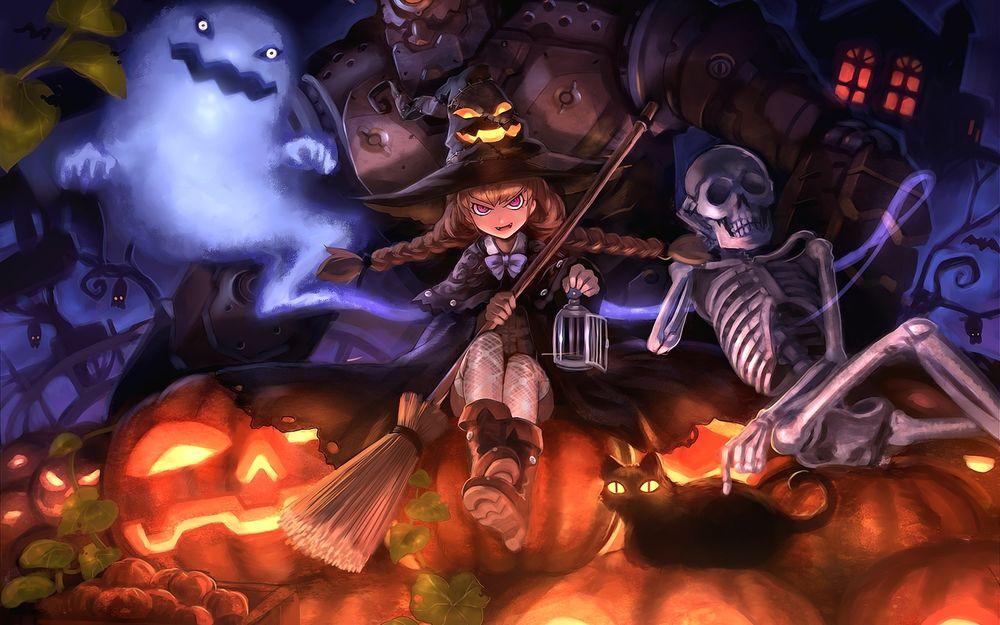 Обои для рабочего стола Ведьмочка с метлой и пустой открытой клеткой в руках, призрак, скелет, гладящий черного кота со светящимися глазами, сидящие на горе «светильников Джеков», и огромный робот, возвышающийся над ними, ночью на Хэллоуин / Halloween