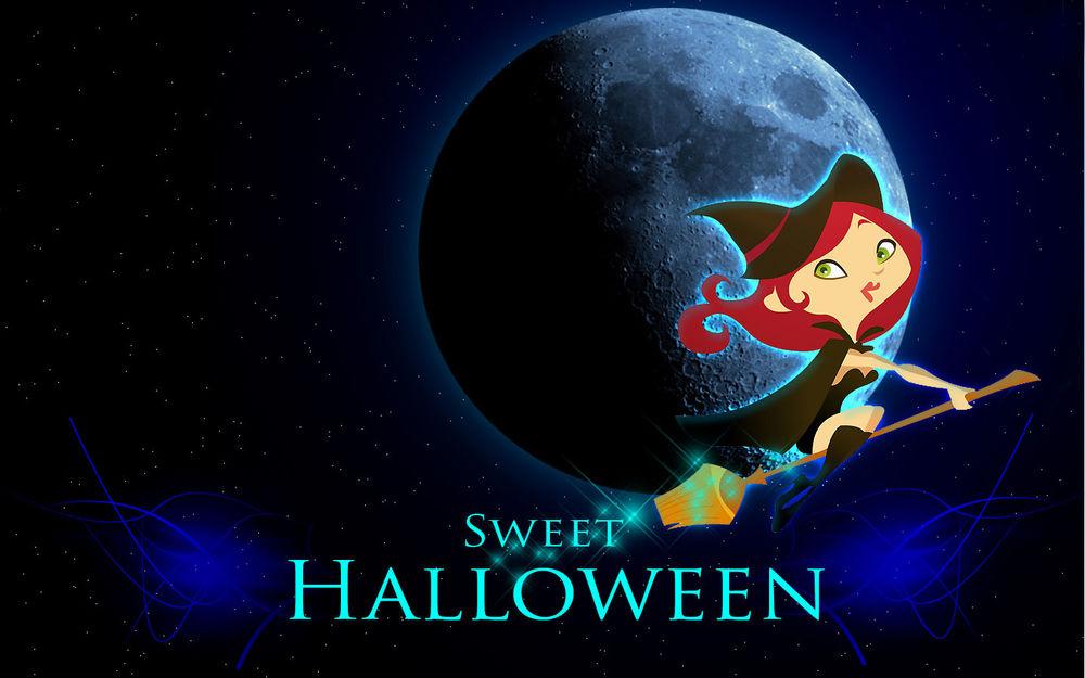 Обои для рабочего стола Девушка-ведьмочка на метле возле луны (Sweet Halloween / Сладкий Хэллоуин)