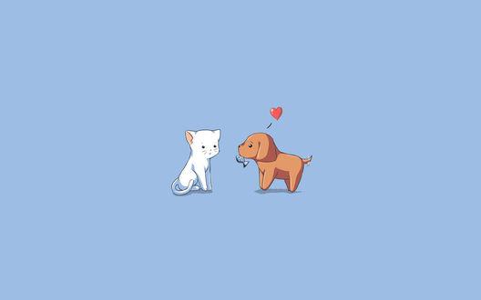Обои Пёс несёт рыбу коту