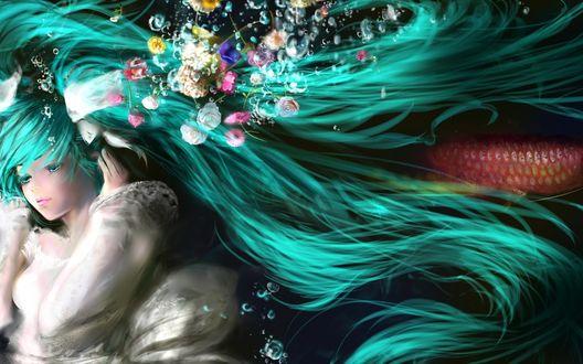 Обои Вокалоид Хатсуне Мику / Vocaloid Hatsune Miku под водой, с проплывающими рыбами и цветами