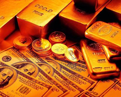 Обои Золотые слитки, доллары и центы