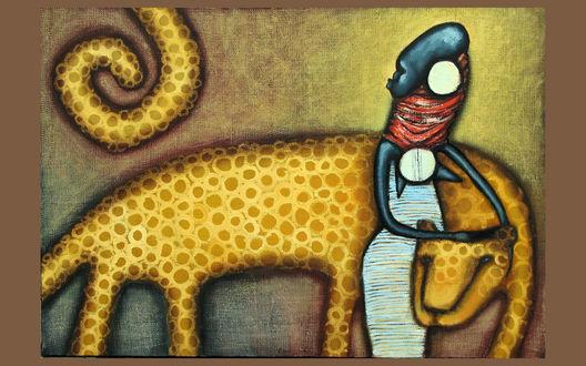 Обои Негритянка с леопардом