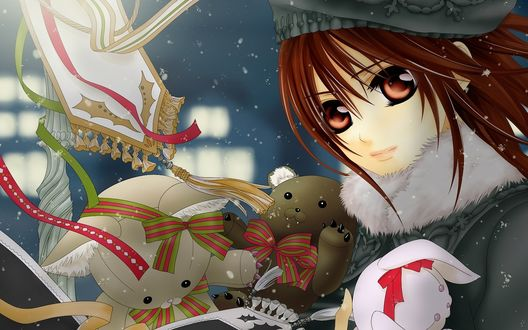 Обои Юки Кросс из аниме 'Рыцарь-Вампир / Vampire Knight' зимой с игрушками и новогодними ленточками