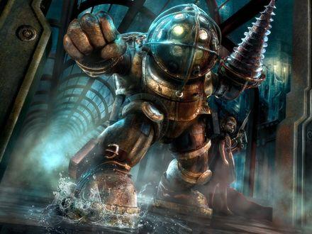 Обои Big Daddy (Большой Папочка) и Little Sister (Маленькая Сестричка) -  персонажи в BioShock серии видеоигр