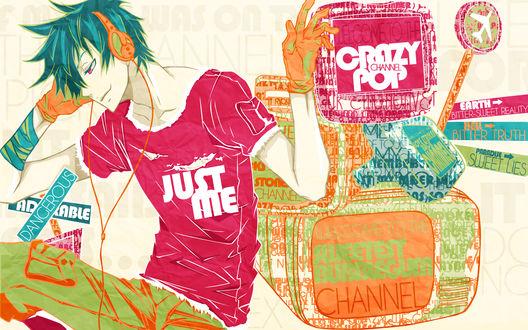 Обои Гареки / Gareki из манги Karneval / Карнавал слушает музыку (Crazy pop)