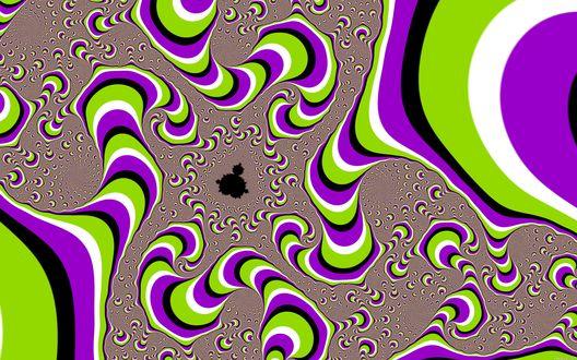 Обои Цветные закрученные полосы создают иллюзию движения, словно живые