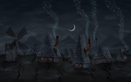 Обои Небольшая ночная деревня, где из каждого дома льется музыка