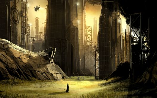Обои Город будущего с огромными небоскребами и туманной атмосферой