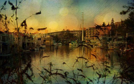 Обои Городок расположился по берегам реки