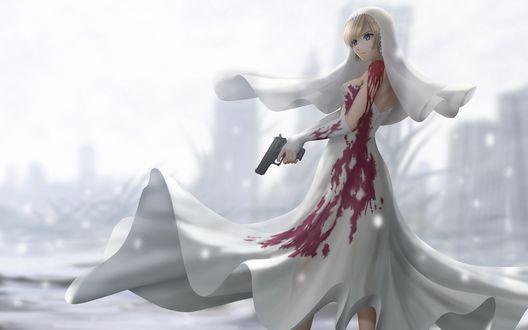 Обои Айя Брея из игры 'The 3rd Birthday' (Parasite Eve) в окровавленном свадебном платье и пистолетом в руке