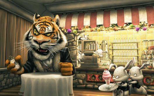 Обои Тигр засекая время ждёт своей еды сидя за столиком