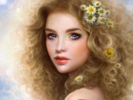 Обои Красивая девушка с ромашками в волосах