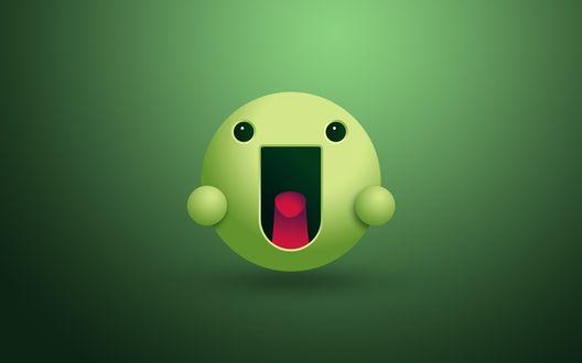 Обои Радостный зеленый смайлик