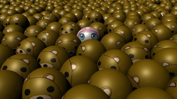 Обои Среди коричневых мячиков с педобиром один розовый - маленькая девочка