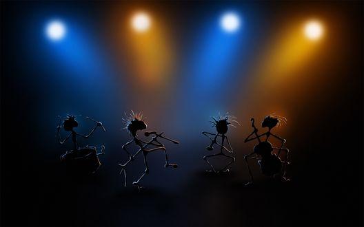Обои Танцы и песни четырех смешных человечков