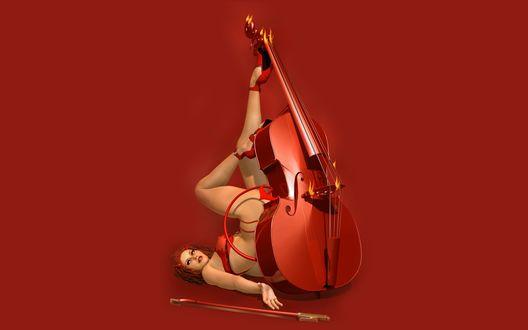 Обои Черт в образе полуголой девушки - виолончелистки