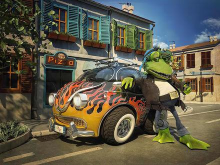 Обои Большая курящая лягушка припарковалась около пиццерии (Pizza)