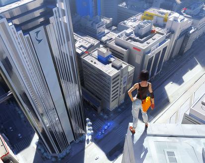 Обои Девушка стоит на краю небоскрёба и смотрит в низ , из игры Край Зеркал / Mirrors Edge