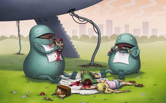 Обои Инопланетяне едят землян,которые устроили пикник на поляне