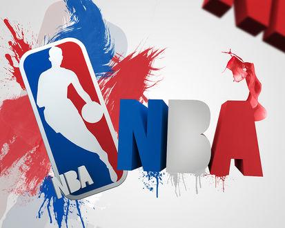 Обои Знак в красно-синих красках на белом фоне Национальной Баскетбольной Ассоциации / NBA