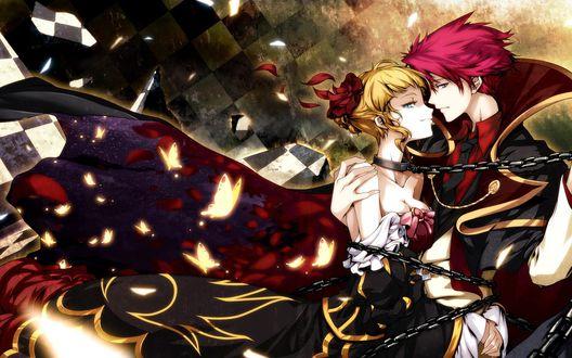 Обои Батлер обнимает Беатриче (Золотая ведьма) закованную в цепях из аниме/Umineko no Naku Koro ni (Когда плачут чайки)