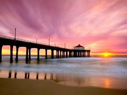 Обои Пирс у моря на закате, California / Калифорния, USA / США