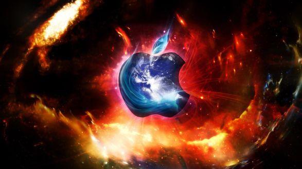 Обои Знак Apple на фоне галактики