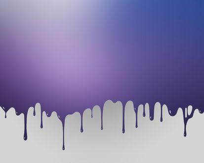 Обои Фиолетовая краска стекает по белому фону