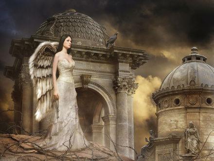Обои Девушка-Ангел с ключем