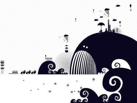 Обои На спине у кита город, в воздухе вокруг него облака, парашюты
