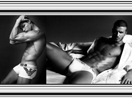 Обои Дэвид Бекхэм / David Beckham  и Криштиану Роналдо / Cristiano Ronaldo в рекламе мужского нижнего белья Emporio Armani