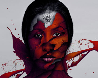 Обои Картина  Джастина Мэллера / Justin Maller на которой изображено лицо девушки составлено из разных осколков с полосами по нему ползают пауки и отлетает краска красного цвета