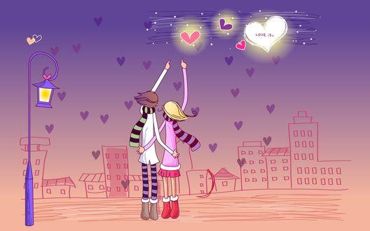 Обои Влюбленные разглядывают сердечки на небе ночного города, векторная графика (love is)