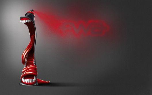 Обои Прикольная креативная челюсть с функцией баллончика с красной краской (fwa)