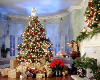 Обои Комната, украшенная к новому году с наряженной ёлкой и горой подарков