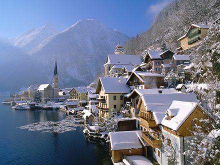 Обои Город Хальштадт / Hallstatt, Австрия зимой