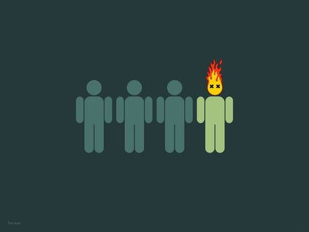 Обои Четыре нарисованных человечка, у четвертого из них горит голова (fire.man)