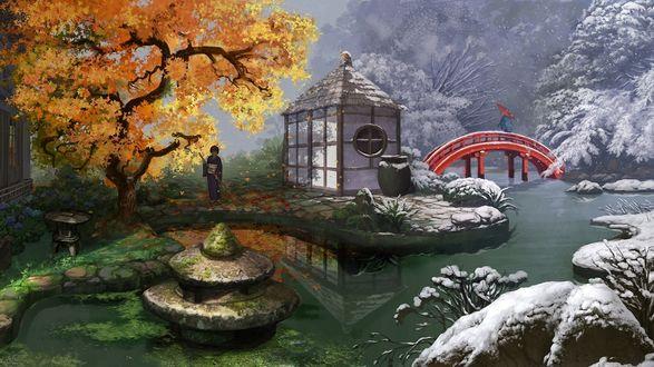 Обои Китаянка подметает осенние листья у себя во дворе, а за двором уже наступает зима
