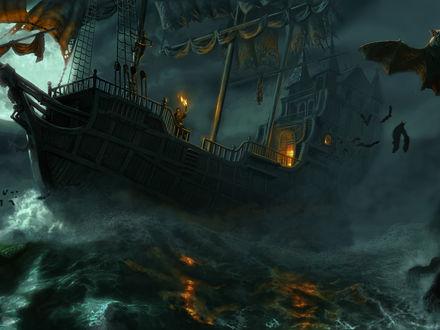 Обои Корабль попал в шторм, вокруг летают летучие мыши