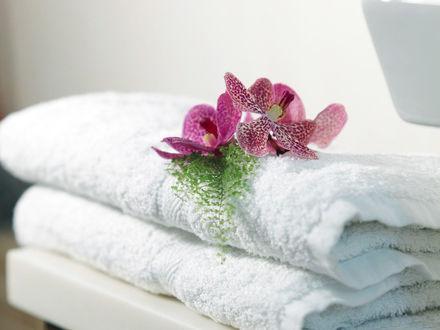 Обои Розовые орхидеи на белых полотенцах
