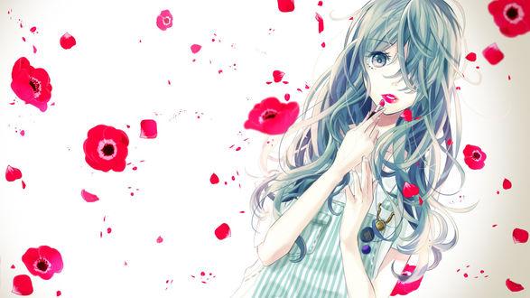 Обои Вокалоид Хатсуне Мику с распущенными волосами красит губы алой помадой под цвет маков летающих вокруг неё