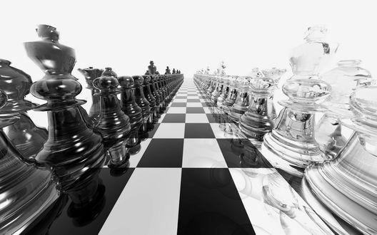 Обои Шахматная доска с фигурами