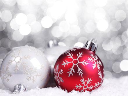 Обои Красный и белый новогодние шары со снежинками лежат в снегу
