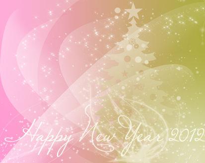 Обои Розово-салатовые абстрактные обои со звездами, сиянием, елочкой и надписью Happy New Year 2012
