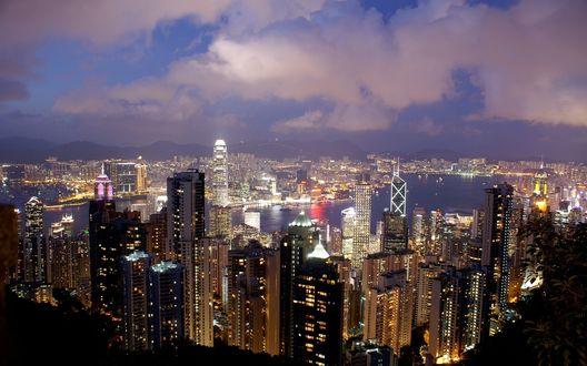 Обои Вечерний вид на Hong Kong / Гонг Конг, Китай