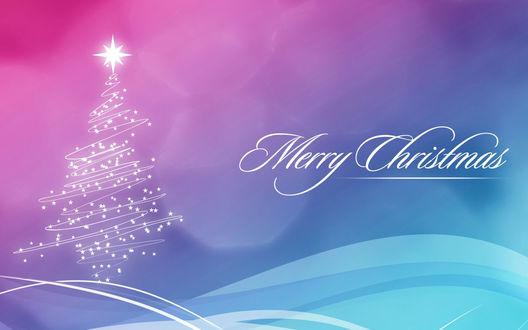 Обои Лилово-голубые новогодние обои с елочкой и надписью Merry Christmas