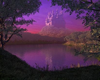 Обои Замок на холме у пруда