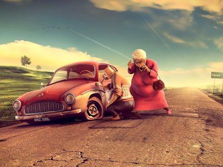 Обои Старушка силой мысли заставляет мужа чинить старый сломавшийся на дороге автомобиль (Kijowo)